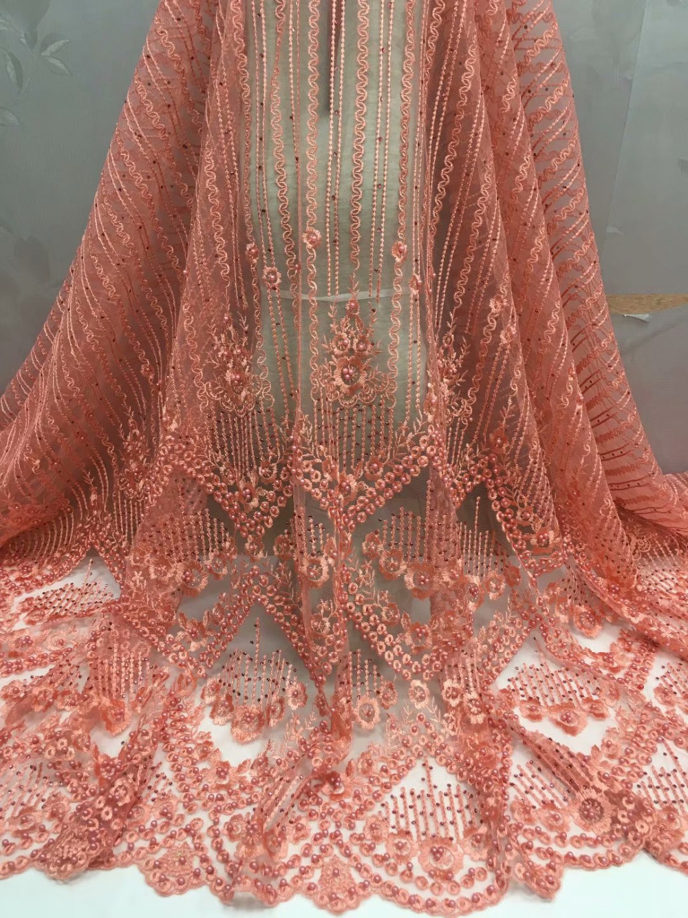 Elegant Nigerian Tulle French Lace Fabric With Stones Beaded 2018 ... f557fa202ae9