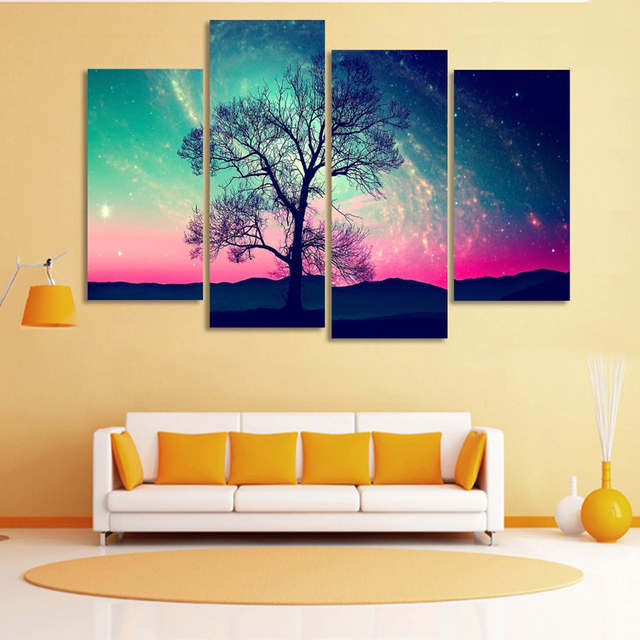 Modern HD Printed Wall Art Frame Canvas Pictures 4 Pieces Andromeda ...