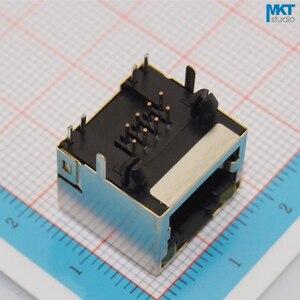 Image 2 - 100 قطعة 56 سلسلة 15.6 مللي متر 10P8C أنثى RJ45 إيثرنت PCB وحدات محطة المقبس موصل جاك مع 2 مؤشرات LED