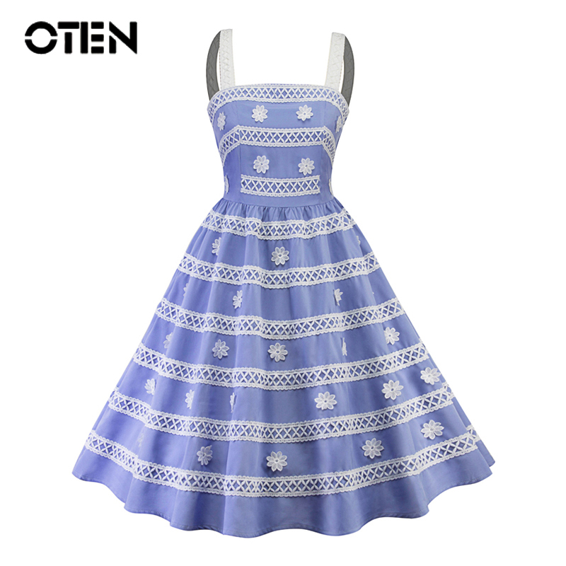 OTEN New 2018 summer women dresses elegant Blue clothing Spaghetti Strap midi  Flower Lace pin up Rockabilly Skater Swing dress 844c65777458