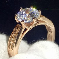 Оптовая продажа высокое качество Классические изделия стерлингового серебра 925 и розового золота заполнено круглой огранки 5A Цирконий CZ Же