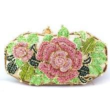 Strass Abend Handtasche Shop Rosa Blumen Kristall Womens Clutch Tasche Perlen Strass Kristall Kupplung Geldbörse für Cocktail Party