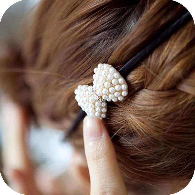 Accessories small exquisite pearl rhinestone bowknot headband hair bands