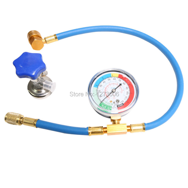R134 R12 R22 Refrigerant Charging Hose With Low Pressure Gauge Recharge Measuring Tool and Valve For Car Air-conditioning / Home 1set car r12 r22 refrigerant freon hoses 30cm length air conditioning dispensing valve gas charging hose car accessories