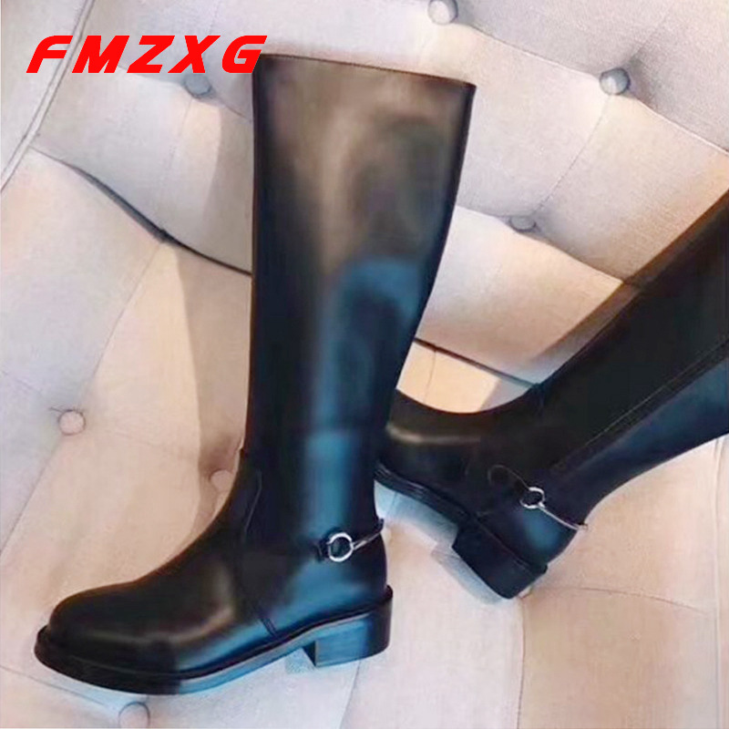 Women High High Long Chain Boots Famous Designer Top Brand Genuine Leather Boots Over The Knee Boot Round Toe Winter Women Boots women s winter platform flats over the knee boots brand designer genuine suede leather patchwork elastic long boots shoes women