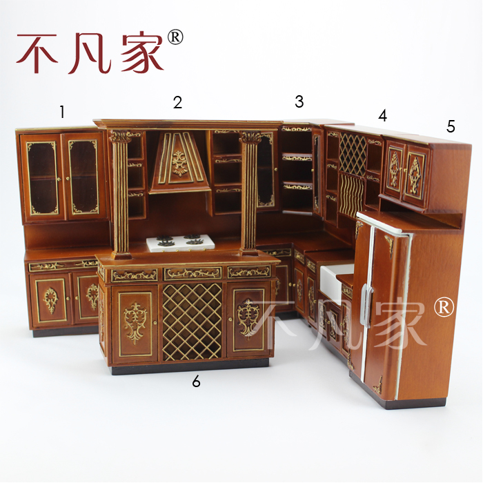 Dollhouse 1/12th Scale Miniature Furniture High Quality Hand Carved Kitchen Cabinet Combination