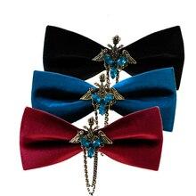 Creative Men's Suit Bow Tie mtal  bat velvet For Groom Wedding Party Men Formal Wear Business Cravat Bow ties Accessories
