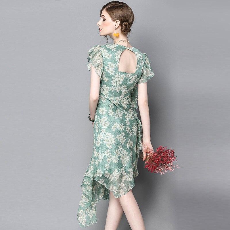 Genou Ruches Évider Print kaki Simulation 2017 Designer D'été Robes Casual Femmes Longueur Dames Manches Robe Vintage Sans Vert PUqU0Bx