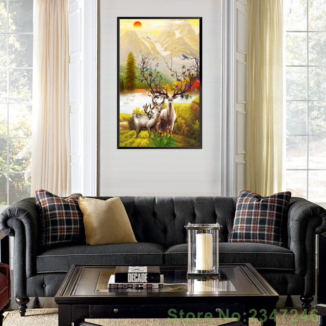 Elk Picture Deer Poster Canvas Painting Decorative Home Decoration Picture  Modern Oil Painting Entrance Living Room