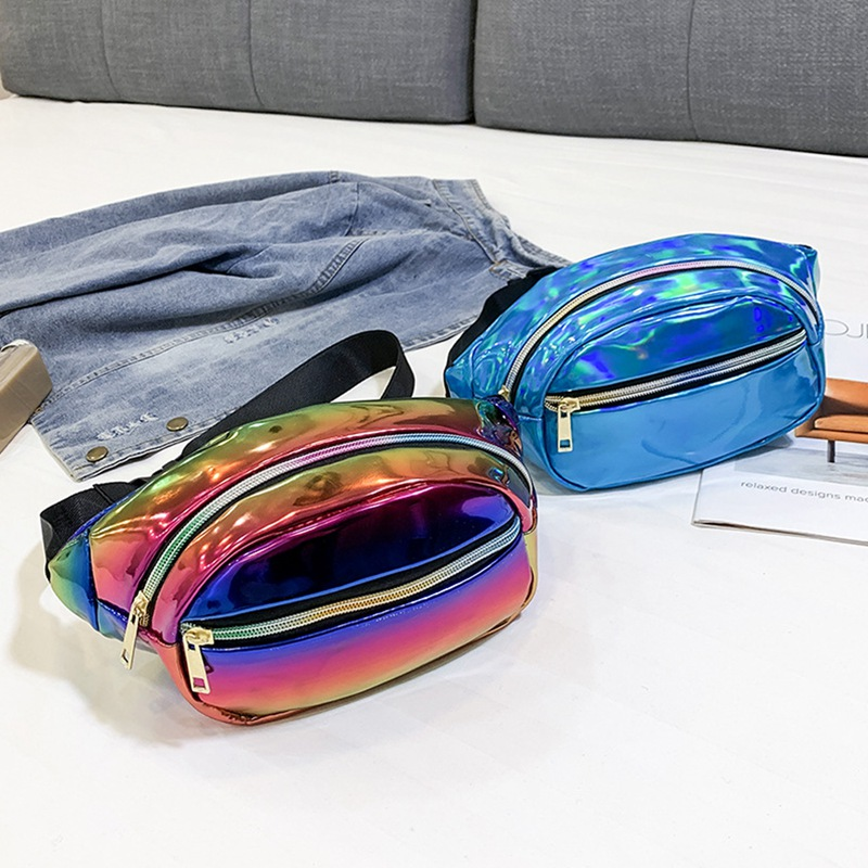 Galleria fotografica Fashion Unisex Waist Fanny Pack PU Belt Bag Travel Hip Bum Bag Small Purse Chest Pouch Black Blue Pink Silver