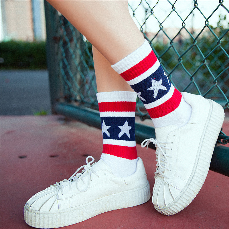 Socks   Woman New Fashion Women   Socks   Cotton 1 Pair Striped Stars Colorful Schoolgirl Style Casual Korean Lady   Socks   Women