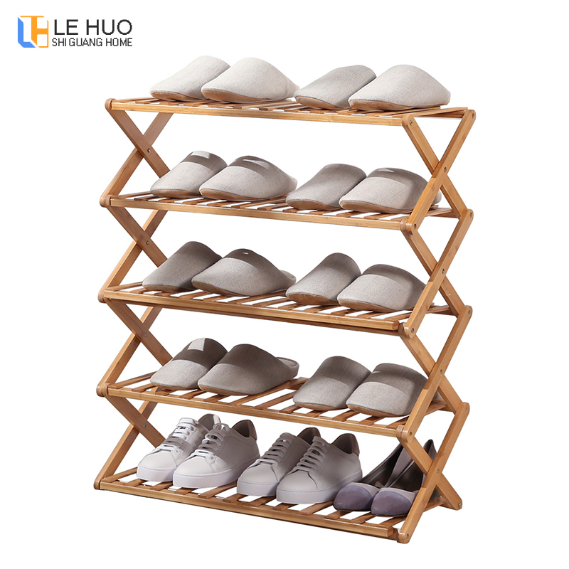 Folding Shoe Rack Bamboo Wood Shoes Storage Organizer Shelf Stable Stand Living Room Shoe Cabinet Home Entrance Furniture