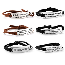Zhijia be yourown hero she believed could so did Bracelets Simple Round Bangles Leather Strap Letter Bracelet