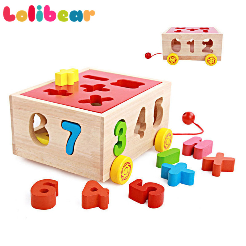 Montessori Wooden Trucks Toddler Walker Educational Tractor Assembly Vehicle Geometric Shape Digital Cognitive Pairing Kids Toys