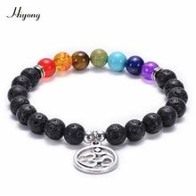 7 Chakra Religion Healing Balance Stone Bead Bracelet OM/Tree of Life/Lotus Pendant Black Lava Rock Bracelet Yoga Charm Jewelry недорго, оригинальная цена
