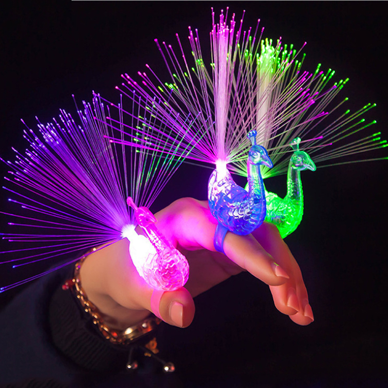 Colorful Luminous Party Toys For Kids Girls Peacock Finger LED Light-up Rings Party Gadgets Intelligent Toy For Children Gift