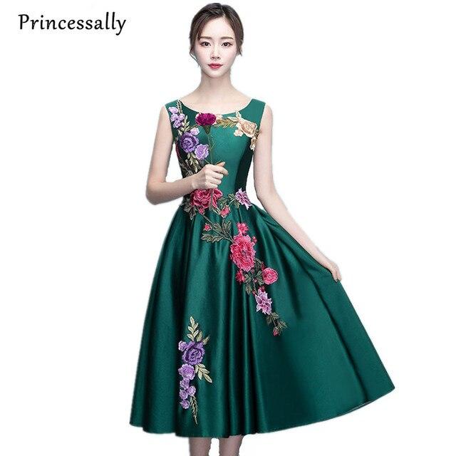 Robe De Soriee Elegant Smaragdgrüne Eveining Kleid Stickerei ...