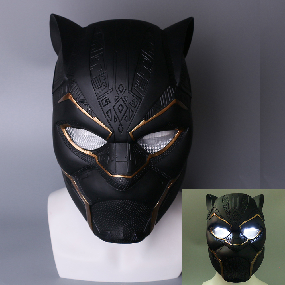 Black Panther T/'Challa Cosplay Mask Superhero Cos PVC Latex Disguise Headgear