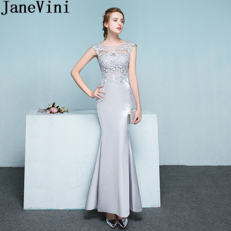 JaneVini Gorgeous Light Gray Mermaid Bridesmaid Dresses Long Beaded Lace See Through Ankle-Length Women Wedding Party Dress 2018