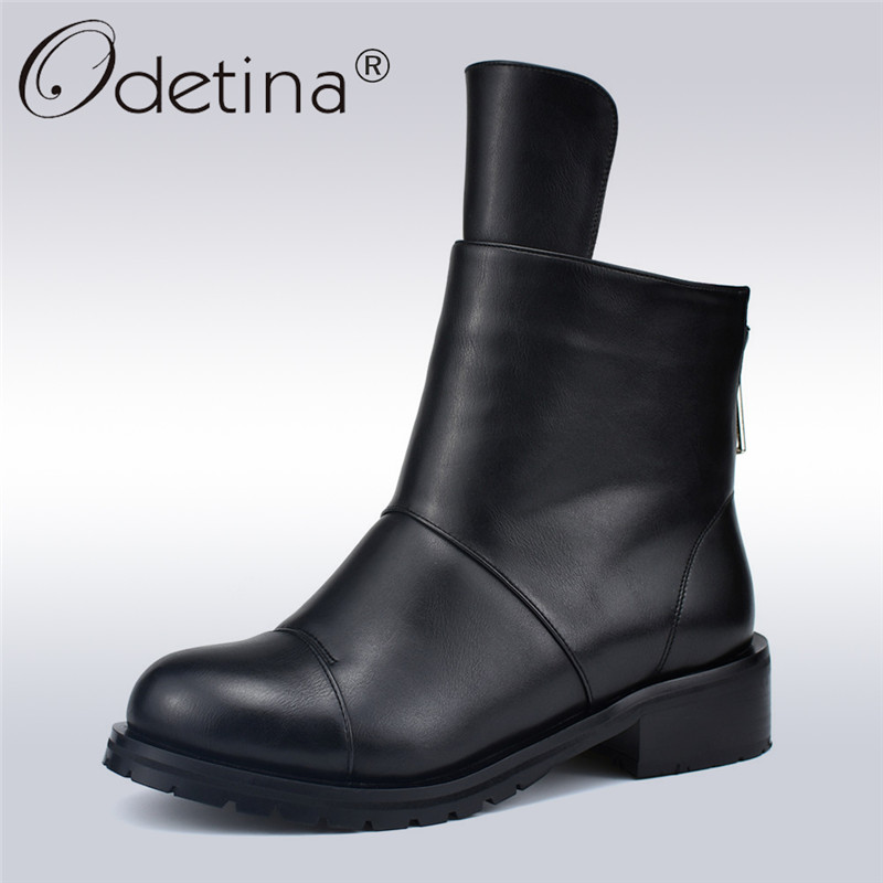 Odetina New Fashion Autumn Winter Ladies Concise Ankle Boots Women Thick Plush Work Boots Soft Low Heels 4cm Back Zipper Shoes