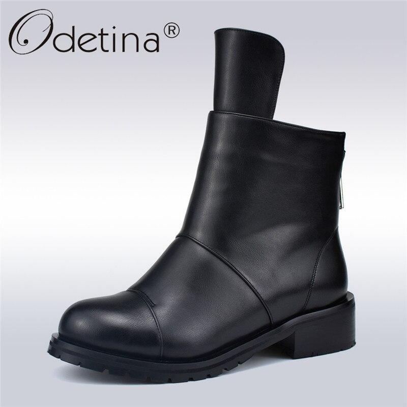 Odetina Nova Moda Outono Inverno Senhoras Concisas Saltos Baixos Tornozelo Botas Mulheres de Pelúcia Grossas Botas de Trabalho Macia 4 cm de Volta sapatos zíper