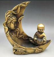 Chinesische Hand Geschnitzte Alte Messing Guan Yin Kwan yin Bodhisattva Fairchild Wenig Mönch Rückfluss Weihrauch Brenner Ofen Statue-in Statuen & Skulpturen aus Heim und Garten bei