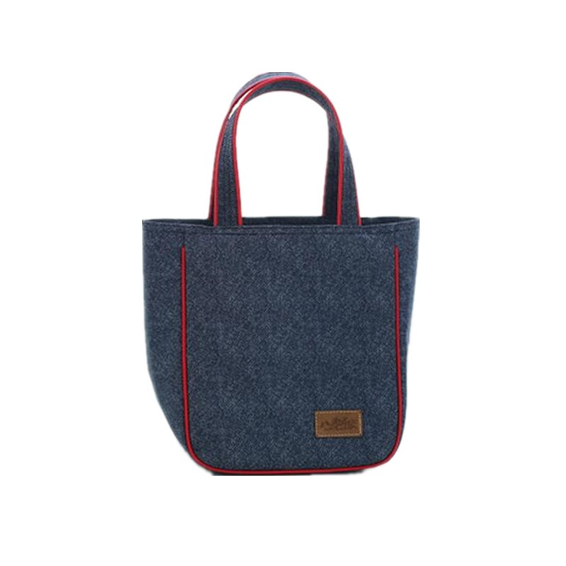 [WIT]Jeans and Aluminum Insulation Lunch Bag Shoulder Picnic Bag Roll Lunch <font><b>Cooler</b></font> Tote Bag Travel Organizer Box Mommy Bag