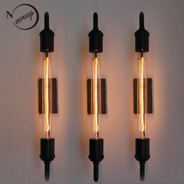 Bathroom Vanity Lights Black aliexpress : buy vintage steam pipe retro black metal wall