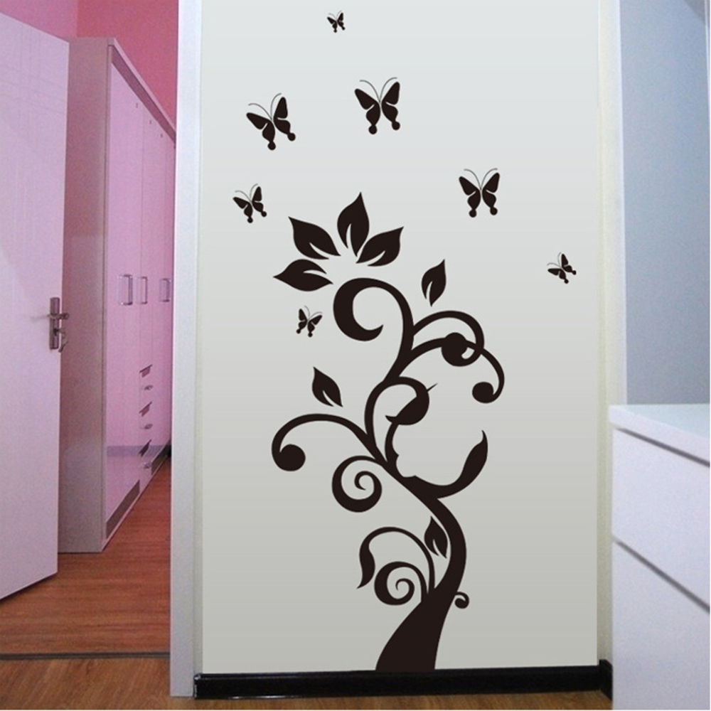 Tree butterfly flower wall paper decal wallpaper decor room vinyl tree butterfly flower wall paper decal wallpaper decor room vinyl removable mural diy art stickers muursticker home decoration in wall stickers from home amipublicfo Choice Image