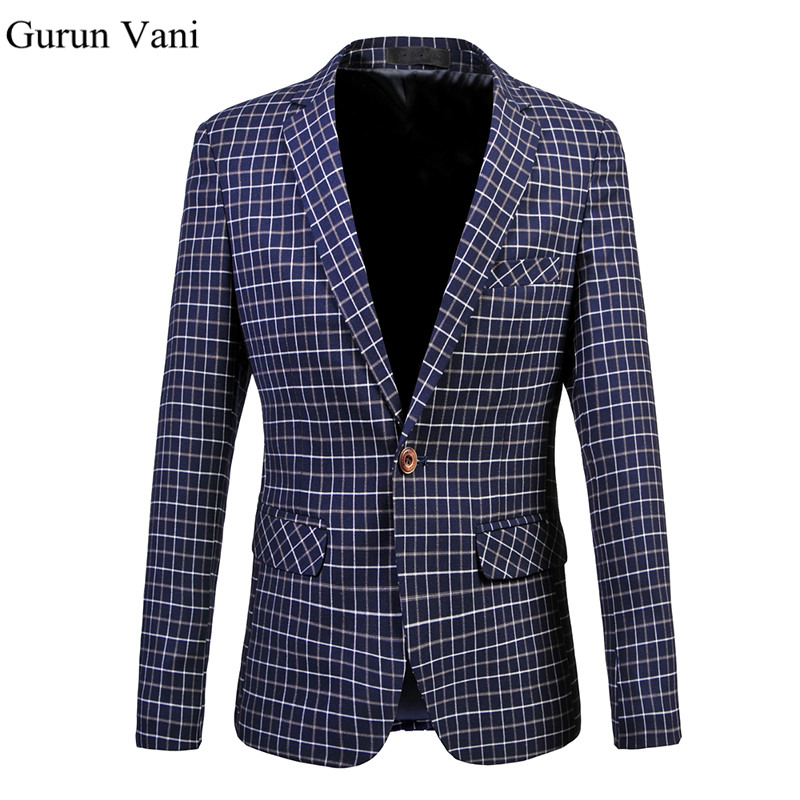 men 39 s dress blazer fashion business suit jacket fine grid blazer slim veste homme mariage free. Black Bedroom Furniture Sets. Home Design Ideas