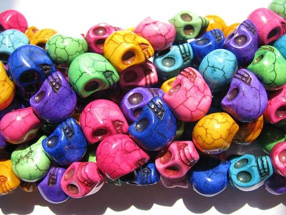 Livraison gratuite-vente en gros 10 brins 10x12mm turquoise pierre gemme squelette crâne noir jet multicolore assortiment bijoux perles 8x10mm - 5