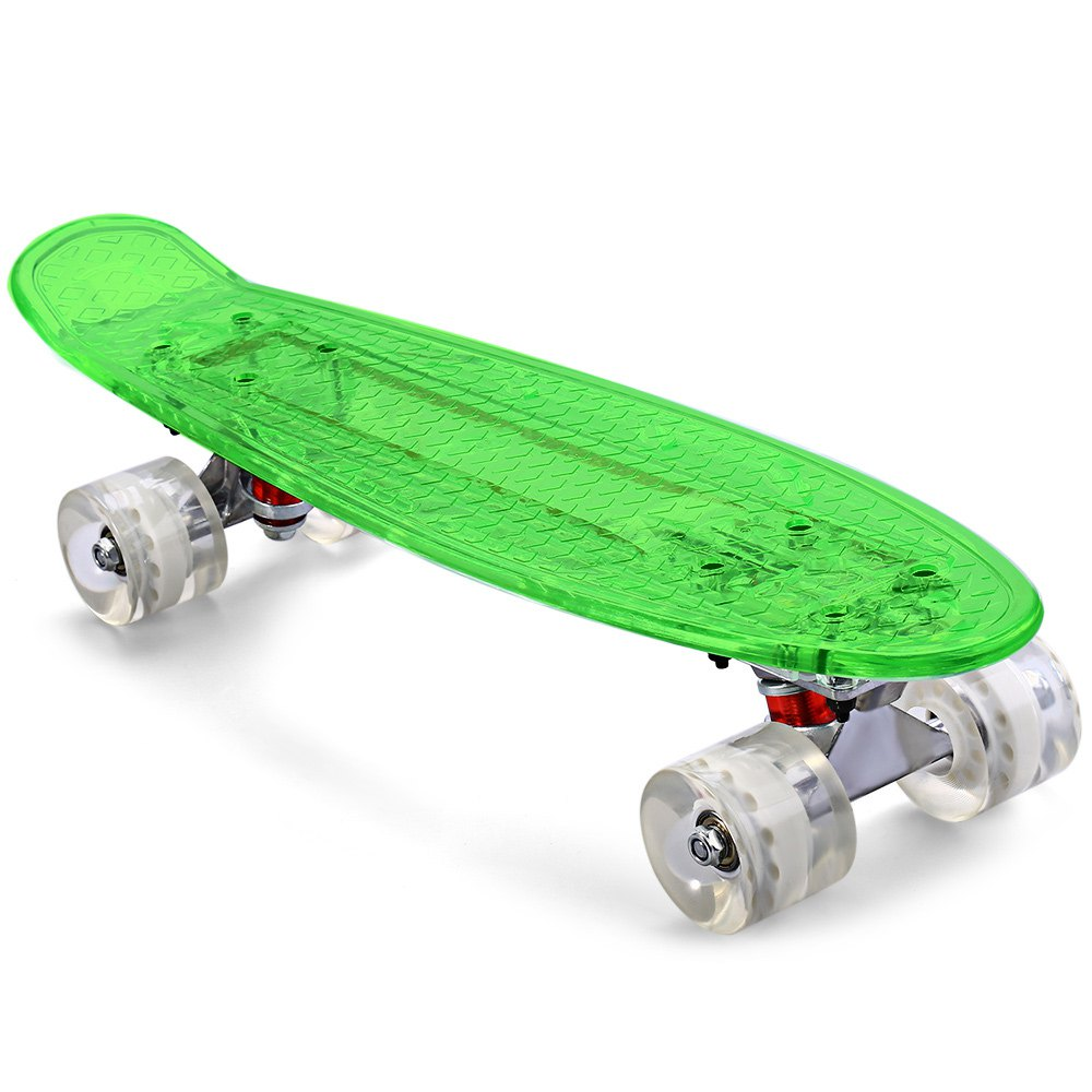 Charitable Cl - 403 Transparent Pc Led Skate Board Complete 22 Inch Retro Cruiser Longboard Green Skateboard With Several Changeable Lights Clear And Distinctive