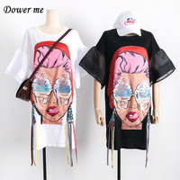 2017 Summer Fashion Cartoon Cotton Women Dress Preppy Style Casual Simple Loose Slim Dresses YN649