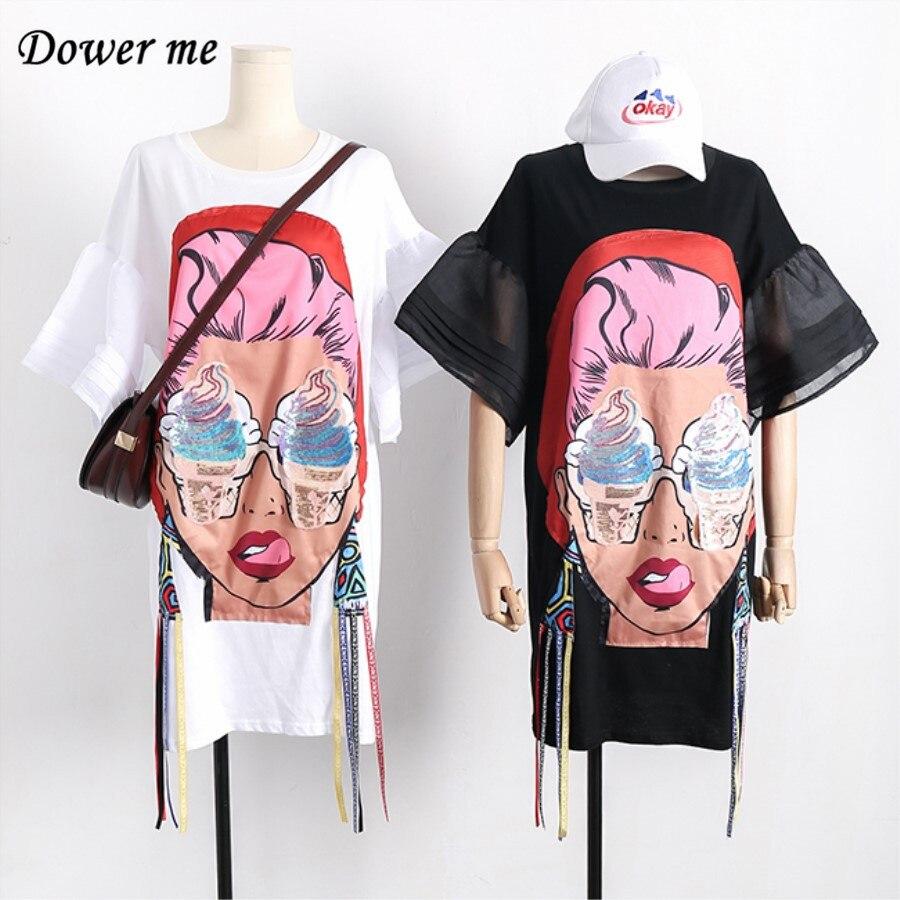 Summer Fashion Cartoon Cotton Women Dress Vestidos Preppy Style Casual Simple Loose Slim Dresses Cute Puff Sleeve Frocks YN649