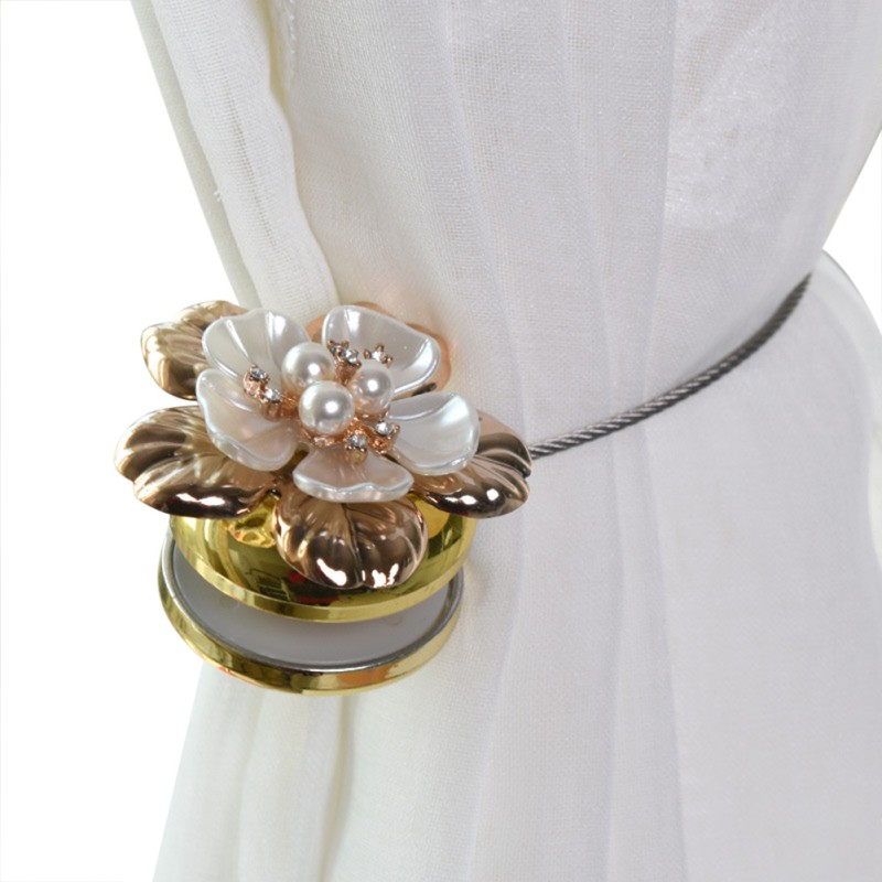 1pc Gold Silver Flower Wire Curtains Tieback Magnet Curtains Buckle Magnetic Curtain Holder Curtain Strap Accessories