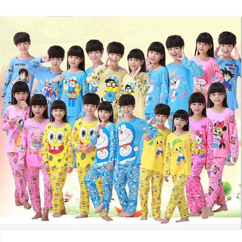 Cute Cartoon Baby Boys Girls Kids Sleepwear children Pajama Sets Nightwear 2Pieces Long Sleeve Tops + Pants Pyjama Set 3-12Y all over cartoon print pajama set