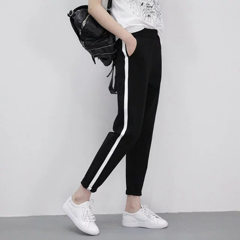 2019 Spring Sweatpants female fashion Harem Pants Loose Trousers For Women Black Striped Side Sweat Pants Female Plus Size S-XXL