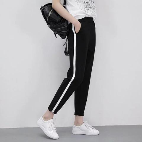 2019 Spring Sweatpants female fashion Harem Pants Loose Trousers For Women Black Striped Side Sweat Pants Female Plus Size S-3XL Pakistan