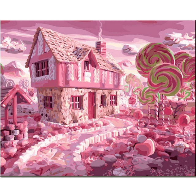 handmade dream pink castle landscape paintings for wall room decor by numbers digital oil painting on