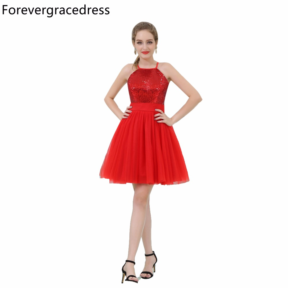 Forevergracedress Real Picture Red Sequins   Cocktail     Dress   Fashion Tulle Short Homecoming Party Gown Plus Size Custom Made