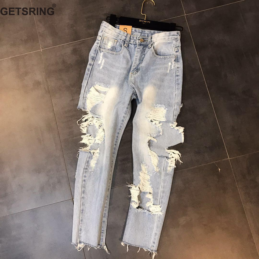 GETSRING Woman Jeans Denim Jeans Womens Ripped Jeans Denim Pants High Waist Hole Denim Ankle-Length Pants Leisure Pencil Pants