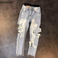 GETSRING Woman Jeans Denim Jeans Womens Ripped Jeans Denim Pants High Waist Hole Denim Ankle Length Pants Leisure Pencil Pants
