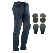 Мотоциклетные штаны для верховой езды, мотоциклетные джинсы для мужчин и женщин, штаны для мотокросса с 4 защитными наколенниками