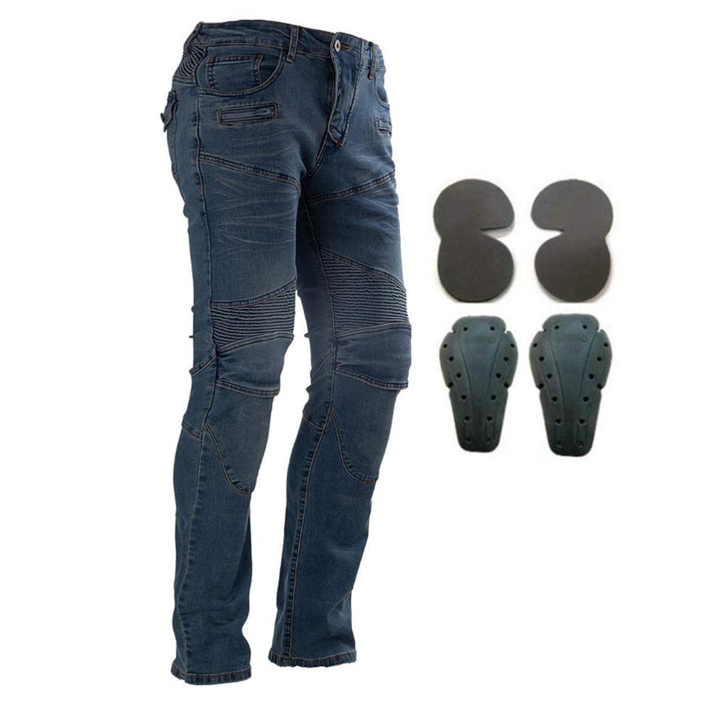 Moto équitation Pantalon Pantalon Moto Jeans pour hommes femmes Motocross course Pantalon avec 4 genouillères hanche protections