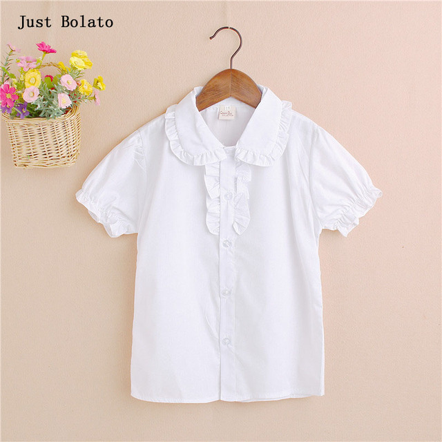 6ef995db4ee Fashion Girls White Shirts Girl Mandarin Collar Shirt Children Solid Short  Sleeve Summer Clothing Kids Casual Brand Clothes