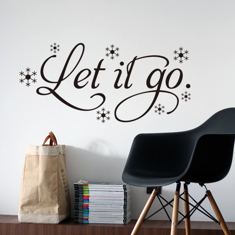 Let It Go Wall Sticker Removable Vinyl Wall Art Frozen Quote Decals For  Home Living Room Bedroom Kids Room Decoration In Wall Stickers From Home U0026  Garden On ...