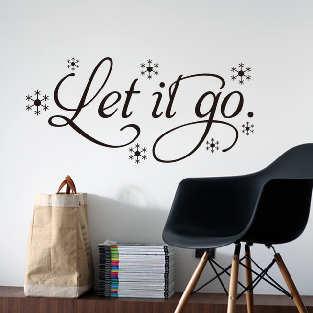 Let It Go Wall Sticker Removable Vinyl Wall Art Frozen Quote Decals For  Home Living Room