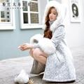 Dabuwawa 2016 longa parka plus size pele do inverno casaco com capuz de renda para as mulheres longa coreano magro elegante manteau hiver femme rosa boneca