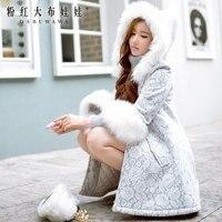 original 2017 long parka winter fur hooded lace coat for women long korean slim elegant manteau hiver femme wholesale