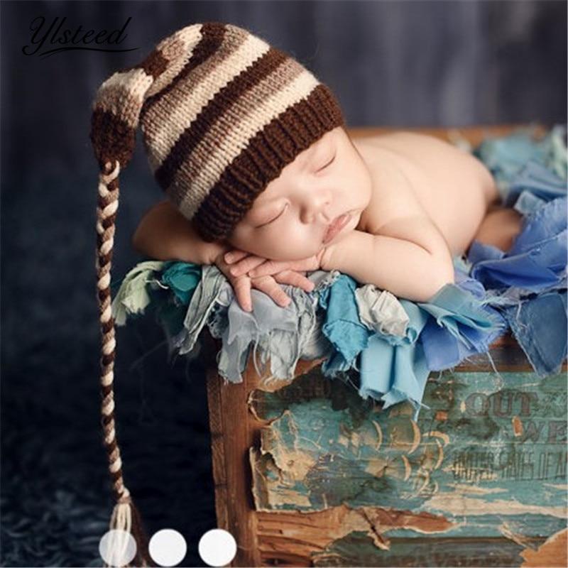 Baby Boy Winter Cap Crochet Stripe Hat with Long Tail Knit Beanies Newborn Photography Accessories Fotografia